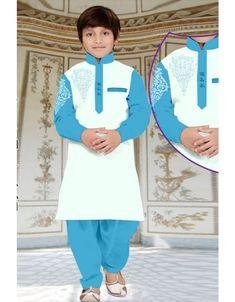 Off White Cotton Kids Readymade Kurta Pajama 188975 Kids Kurta, Pathani Kurta, Boys Kurta Design, Sherwani, Kurta Designs, Kids Pajamas, How To Dye Fabric, Kids Wear, Indian Outfits