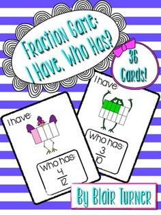 Fraction Game: I Have, Who Has? $
