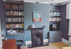 Fitted units in a beautiful home in Lewisham. Painted in Stiffkey Blue farrow&ball. Alcove Shelving, Alcove Cupboards, Navy Living Rooms, Living Room Paint, Oval Room Blue, Stiffkey Blue, Blue Shelves, Cottage Windows, Blue Bedroom