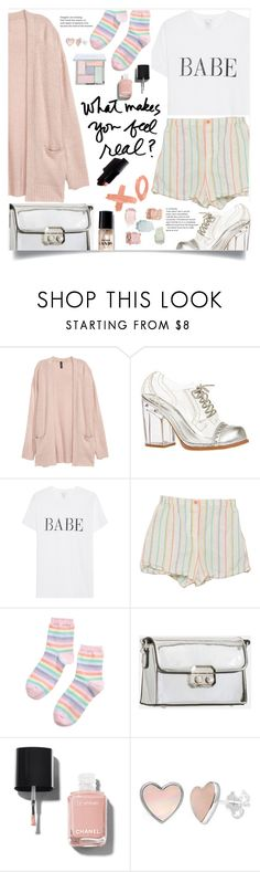 """#260 - Pastel Babe"" by izzaidaniia ❤ liked on Polyvore featuring Jeffrey Campbell, KoKo Couture, Chanel, cute, Pink, rainbow, pastel and pastelpink"