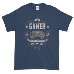 This t-shirt makes for a great staple! It has a classic fit (not form-fitting) with a thick cotton fabric. Gamer T Shirt, Retro Gamer, 16 Bit, Retro Outfits, Classic, Mens Tops, Shirts, Clothes, Products