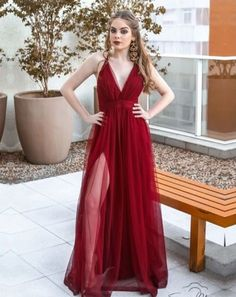 Apr 2020 - Burgundy Prom Dress With Slit Sexy V Neck Long Charming Prom Dress – Simplepromdress Evening Dresses, Prom Dresses, Formal Dresses, Prom Party, Party Dress, Slit Dress, Dress For You, Gowns, Womens Fashion