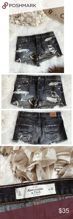 A&F distressed/high-waisted shorts. • Abercrombie & Fitch distressed /high-waisted shorts. | • size 2 // 26 in. waist. | • super comfy & in wonderful condition // only worn once. • Abercrombie & Fitch Shorts Jean Shorts