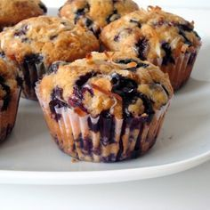 Brown Sugar Coconut Blueberry Muffins - Alida's Kitchen It's tasty, but super dense. I found a better recipe that I put on another board. Best Blueberry Muffins, Coconut Muffins, Blueberry Recipes, Blue Berry Muffins, Just Desserts, Dessert Recipes, Lemon Ricotta Pancakes, Yummy Treats, Yummy Food