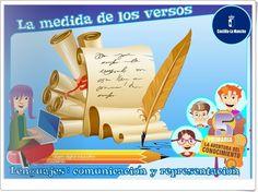 """""""La medida de los versos"""", de la Junta de Castilla y La Mancha, es una aplicación en la que se expone de forma interactiva la medida de versos y los tipos de versos según su medida. Finaliza con actividades de evaluación sobre el aprendizaje adquirido."""