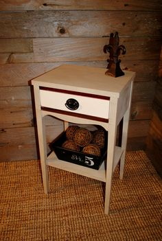 Small side table done in #MaisonBlanchePaint La Bonne Terre and Magnolia with dark  brown and amber aging wax.  #ChalkPaint #Furniture