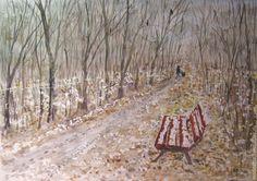 Купить Уже не осень, ещё не зима - пейзаж, пейзаж акварелью, акварельная живопись, пейзаж настроения
