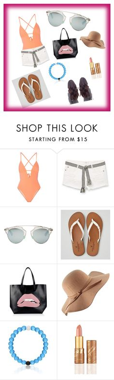"""Beach Fun"" by dancemaster7 ❤ liked on Polyvore featuring Tart, MANGO, Christian Dior, American Eagle Outfitters, RED Valentino and tarte"