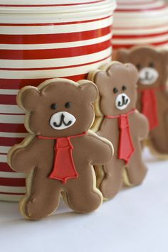 Teddy bear with tie cookies : Beautifully hand Iced biscuits | Juliet Stallwood Cakes & Biscuits
