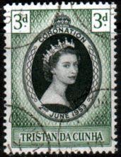 Tristan da Cunha Elizabeth II 1953 Coronation Fine Used SG 13 Scott 13 Other Tristan da Cunha Stamps HERE