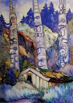 (via Emily Carr: Who Is She?) Haida Totems, Cha-atl, Queen Charlotte Island by Emily Carr, 1912 Tom Thomson, Canadian Painters, Canadian Artists, Native Art, Native American Art, Emily Carr Paintings, Critique D'art, Group Of Seven, Post Impressionism