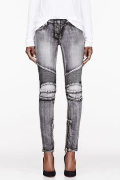 BALMAIN Black faded & ribbed Jeans