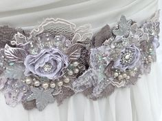 Beaded Lace Bridal Sash, Wedding Sash In Lavender, Plum And Silver With Crystals… Wedding Dress Sash, Disney Wedding Dresses, Couture Wedding Gowns, Sweetheart Wedding Dress, Tea Length Wedding Dress, Bridal Sash, Bohemian Wedding Dresses, Fall Wedding Dresses, Colored Wedding Dresses