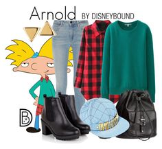 """""""Arnold"""" by leslieakay ❤ liked on Polyvore featuring Alexander Wang, Uniqlo, H&M, Moschino, Argento Vivo and Halloween"""