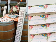 escort card station created w/ shutters, wine barrels and a table. Wedding Seating Board, Wedding Signage, Wedding Table, Table Seating Cards, Table Cards, Seating Charts, Wedding Window, One Sweet Day, Wedding Paper