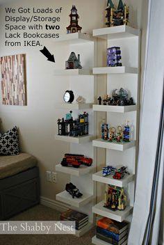 The Shabby Nest: Summer Home Tour~ shelves for the boys bedroom