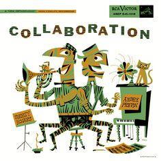 Andre Previn, Shorty Rogers-Collaboration, label: RCA Victor LJM-1018 (1955) Design: Jim Flora.