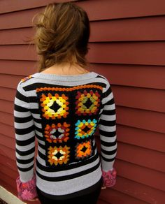 Striped Bell Sleeve Wild Child Granny Square Applique Crochet Button Up Cardigan Upcycled Sweater Size