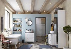 Un sol de salle de bains version mix & match
