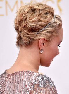 Twisted-and-Textured-Wavy-Updo-with-Headband thought this would be really cool on Hilary with her curly hair