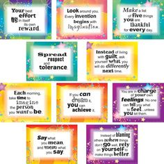 Thoughts Of The Week Posters Set--I kind of want these for the blank wall in my classroom