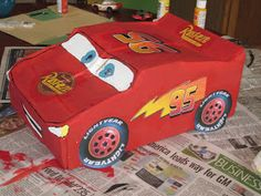 Because I Said So (and Other Mommyisms): DIY Pull-String Lightning McQueen Pinata Valentine Box, Valentine Crafts, Holiday Crafts, Car Pinata, Diy Projects To Try, Craft Projects, Lightning Mcqueen, Holidays With Kids, 3rd Birthday Parties