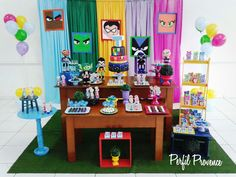 Decoração Jovens Titans Perfil Provence 13th Birthday Parties, 8th Birthday, Birthday Party Decorations, Pinata Party, Diy Party, Teen Titans Go, Ideas Para Fiestas, Holidays And Events, First Birthdays