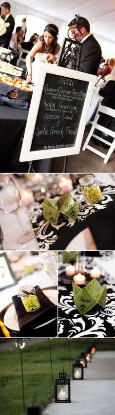 "Each place setting at the reception has a wedding favor ""cootie catchers"". The cootie catchers were a game the couple remembered playing when they were kids. These particular ""Cootie Catchers"" held trivia about the couple. Photography by Tasha Owen Photography."