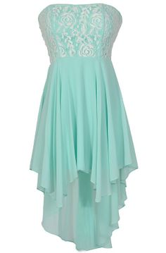 Beautiful Crème de Menthe Dress in Mint / Aqua - with Lace Overlay On Top. Strapless, Fitted Top. Pair with Ivory or Nude Pumps.