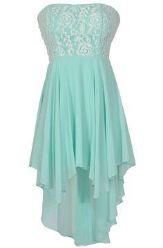 Cr me de Menthe Fabric Piping High Low Dress