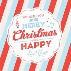 Met aankoop van deze kaart steun je CliniClowns! Moderne kerstkaart met strepenpatroon en muzieknoten, verkrijgbaar bij #kaartje2go voor €1,89