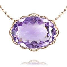 Filigrana Necklace Necklace in 18-kt pink gold composed of 24.71-carat oval amethyst  and diamonds weighing in total 0.03-carat.