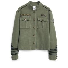Military-Style Jacket (2.620 RUB) ❤ liked on Polyvore featuring outerwear, jackets, tops, coats, green jacket, military jacket, cotton lined jacket, button jacket and military button jacket