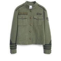 Military-Style Jacket (340 DKK) ❤ liked on Polyvore featuring outerwear, jackets, tops, military jacket, patch jacket, long sleeve jacket, mango jacket en green military jacket