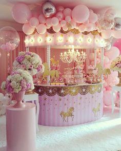 "Eventos Silvia Gomez on Instagram: ""#decoraciondeeventos #carouselparty  #babysalome"" Carousel Birthday Parties, 1st Birthday Party For Girls, Carousel Party, Little Girl Birthday, Baby Party, Baby Birthday, Birthday Party Decorations, Baby Shower Decorations, Baby Girl Shower Themes"
