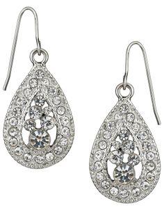 Crystal Teardrop Earrings   Clear   Accessorize