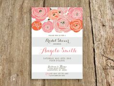 modern floral bridal shower invitation with subtle stripes - customize with your colors - shown in peach and charcoal via Etsy