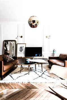 parquet wood flooring white white walls and feature golden globe pendant. My Living Room, Living Room Interior, Home And Living, Living Spaces, Home Design Decor, Home Interior Design, House Design, Home Decor, Architecture Design