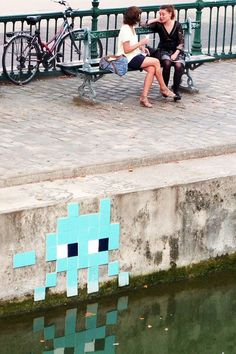 Look our for the Space Invador - iconic Paris street art