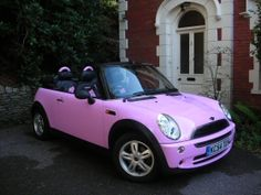 Pink convertible Mini Cooper...pink is so cool!