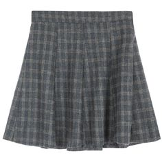 Check Zip-Up Side Flared Skirt ($28) ❤ liked on Polyvore featuring skirts, bottoms, clothing - skirts, high waisted circle skirt, high-waisted skater skirts, circle skirt, skater skirts and elastic waist skirt