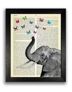 Beautiful Elephant & Butterflies Poster Art Print, Vintage Dictionary Book…