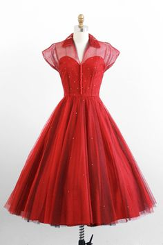 vintage 1950s red + navy rhinestone cupcake dress