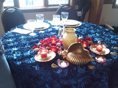 Sweetheart Table - Navy Rosette Accent with Red & Gold