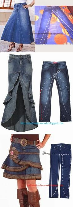 34 Super Ideas For Skirt Denim Diy Recycle Jeans Sewing Jeans, Sewing Clothes, Jeans Refashion, Recycle Jeans, Diy Recycle, Denim Ideas, Denim Crafts, Mode Vintage, Diy Clothing