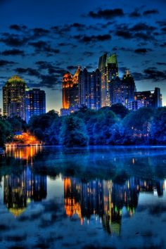 """Atlanta's Midtown at the Blue Hour, HDR…"" ~ This is a beautiful photo of Midtown Atlanta from Piedmont Park. Places Around The World, The Places Youll Go, Places To See, Around The Worlds, Beautiful World, Beautiful Places, Beautiful Pictures, Amazing Places, Amazing Things"