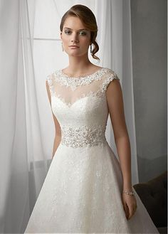 Buy discount Elegant Lace Bateau Neckline Natural Waistline A-line Wedding Dress With Beaded Lace Appliques at Dressilyme.com