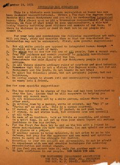 Integrated Bus Suggestions. This 1956 document, drafted by the Montgomery Improvement Association, advised victorious bus boycotters on best practices for riding the newly integrated city bus system.