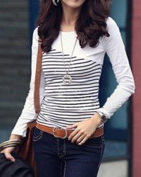Long Sleeves Scoop Collar Splicing Stripe Design Slimming T-Shirt For Women (WHITE,ONE SIZE) | Sammydress.com