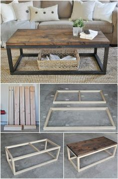 Self-made industrial wooden coffee table - I like the two-tone to look like metal legs from afar